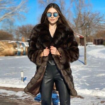 Long Real Fur Coat Winter Fashion Thick Warm Fur Overcoats Luxury High Quality Genuine Fox Fur Down Coat Lapel Collar Outwear
