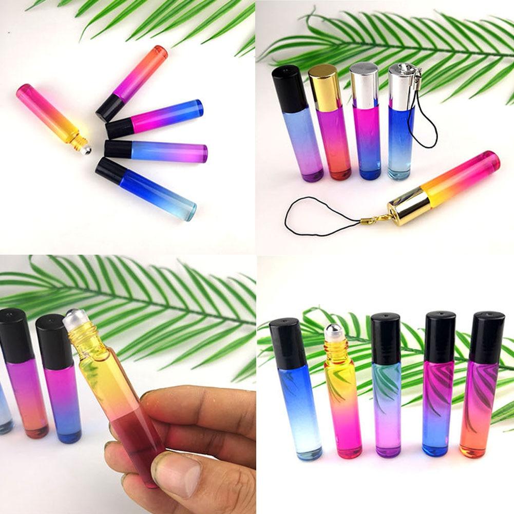 5Pcs/Set 10ml Rollerball Multicolor Gradient Empty Essential Oil Perfume Bottle