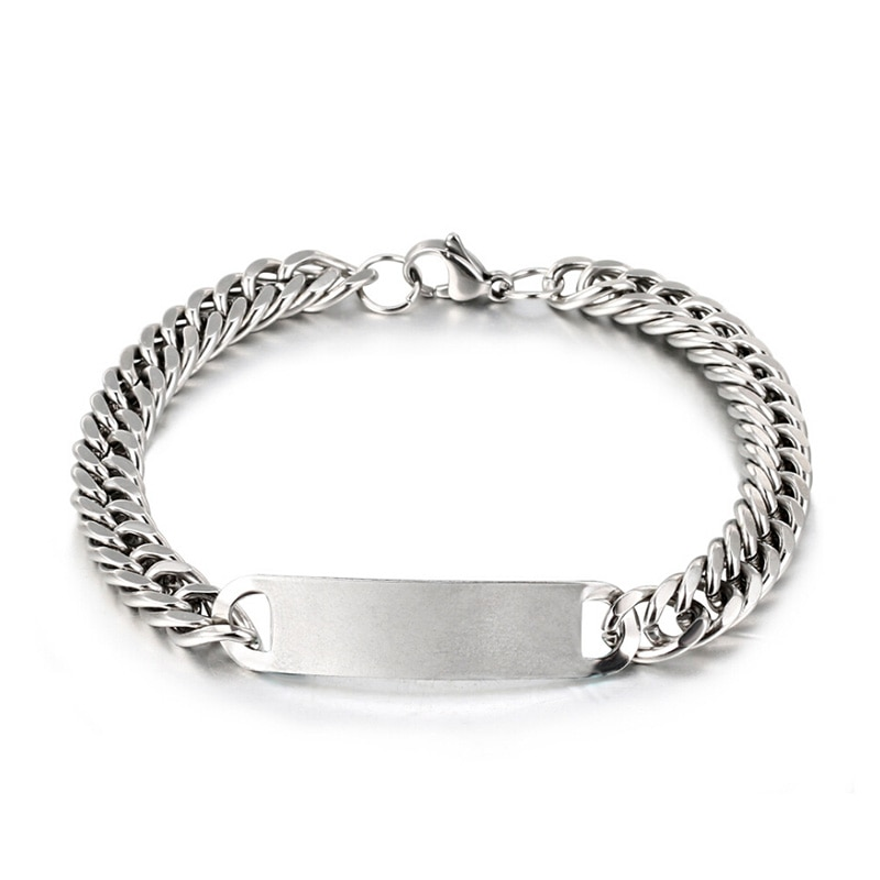 2019 Stainless Steel Link Chain Bracelets Mens Womens Bracelets Silver Wristband Bangle Punk Jewelry