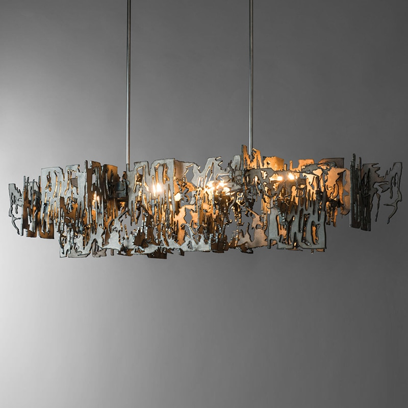 Postmodern Minimalist metal fragment Art Chandelier model room Rectangle Kitchen Island Hanging light Dining room Decor lighting