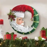 christmas jolly santa wreath decoration paste stickers wall window decals xmas party village ornaments for 2022 new year navidad