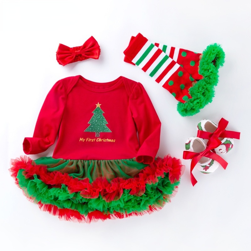 Toddler Girl Fall Clothes 2021 Christmas Newborn Clothes Romper Dress Headband Shoes Sets Fashion Bow Cotton Baby Clothing Xmas