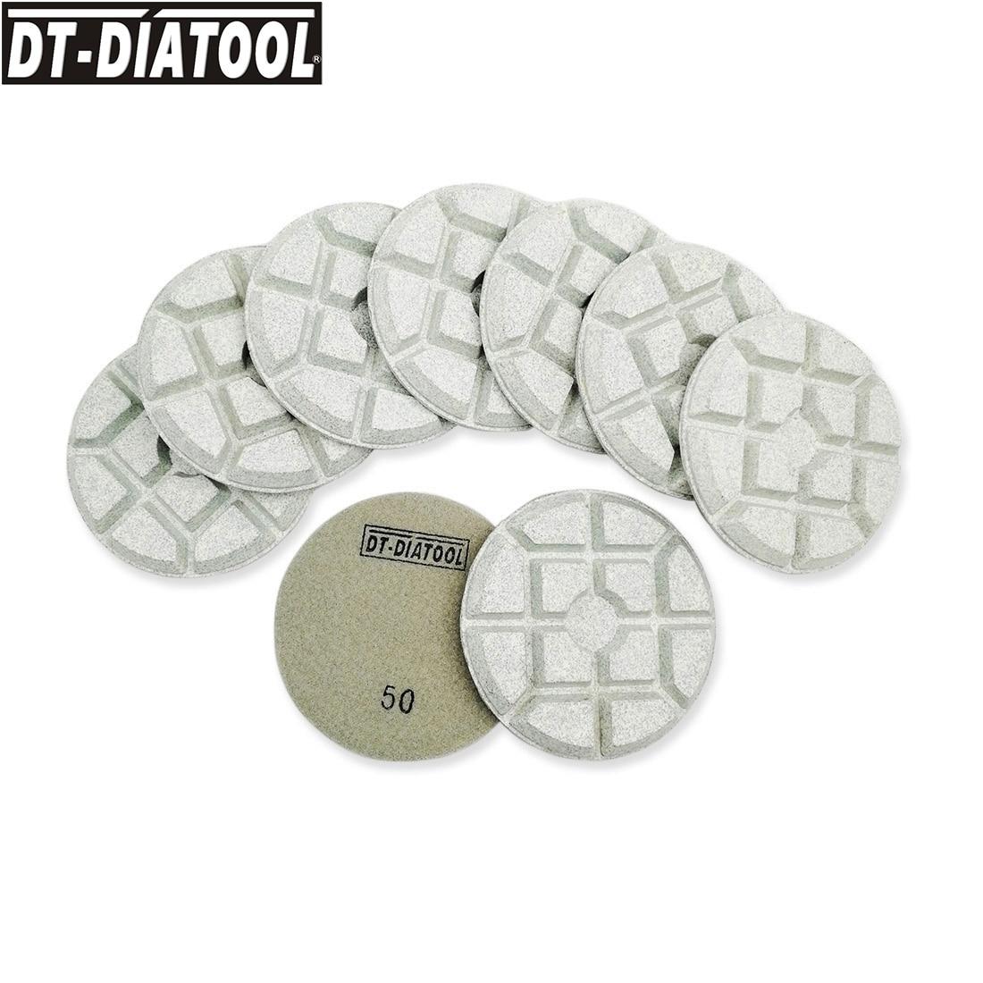 DT-DIATOOL 9 قطعة/المجموعة الماس الراتنج السندات الخرسانة تلميع منصات الرملي أقراص للخرسانة تشققت الطابق ضياء 100 مللي متر/4