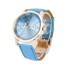 Women's Luxury Wrist Watch Roman Numerals Three-eye Dial Faux Leather Strap Analog Quartz Watch relo