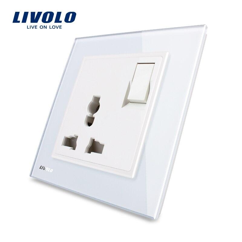 Toma de corriente estándar Livolo UK 1 gang, panel de cristal blanco de lujo, VL-W2C1B-12/11/13