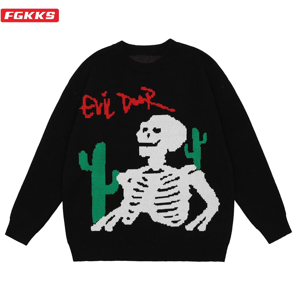 FGKKS Men Oversized Sweater Black Loose Cactus Skeleton Bone Printed High Quality High Street Vintage Knitted Pullover Sweater