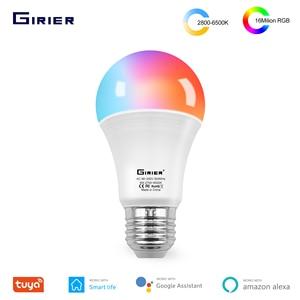 Tuya Wifi умный светильник лампочка E27 светодиодной цветной RGB лампы с регулировкой яркости Светильник лампы работать с Alexa Google Home гнездо не требуется, 12 Вт, 15 Вт