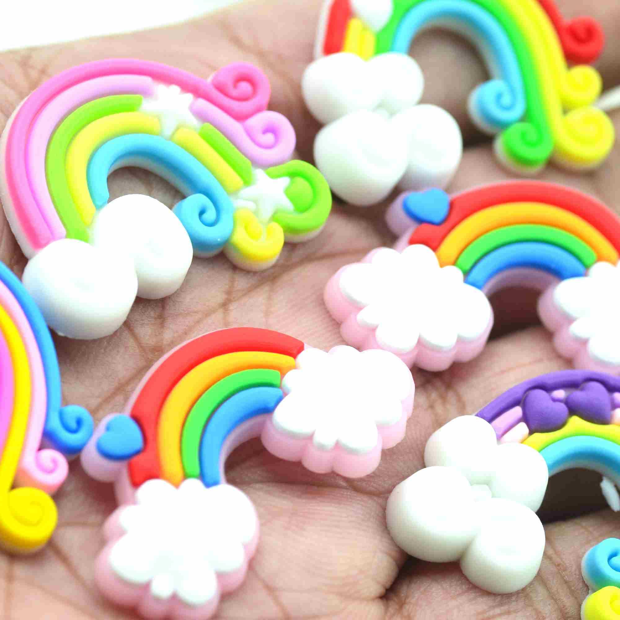 20 шт. разноцветные мягкие резиновые плоские радужные кабошоны | Украшение для свадебвечерние | Топперы для торта | Товары для рукоделия Baby ...