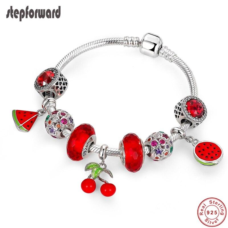 خطوة إلى الأمام-سوار من الفضة الإسترليني عيار 925 بتصميم فاكهة حمراء ، مجوهرات نسائية فاخرة ، هدية