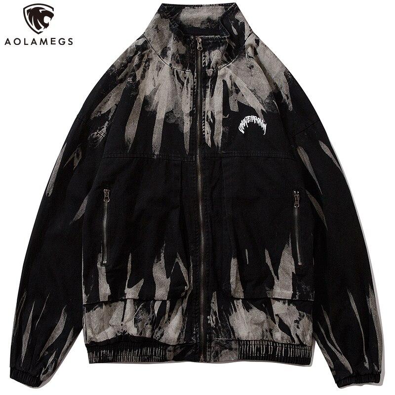 Aolamegs Denim Chaquetas hombres lavado gradiente con dibujo Punk 2020 Hipster de la calle cremallera Bomber Casual chaqueta abrigos hombres Streetwear