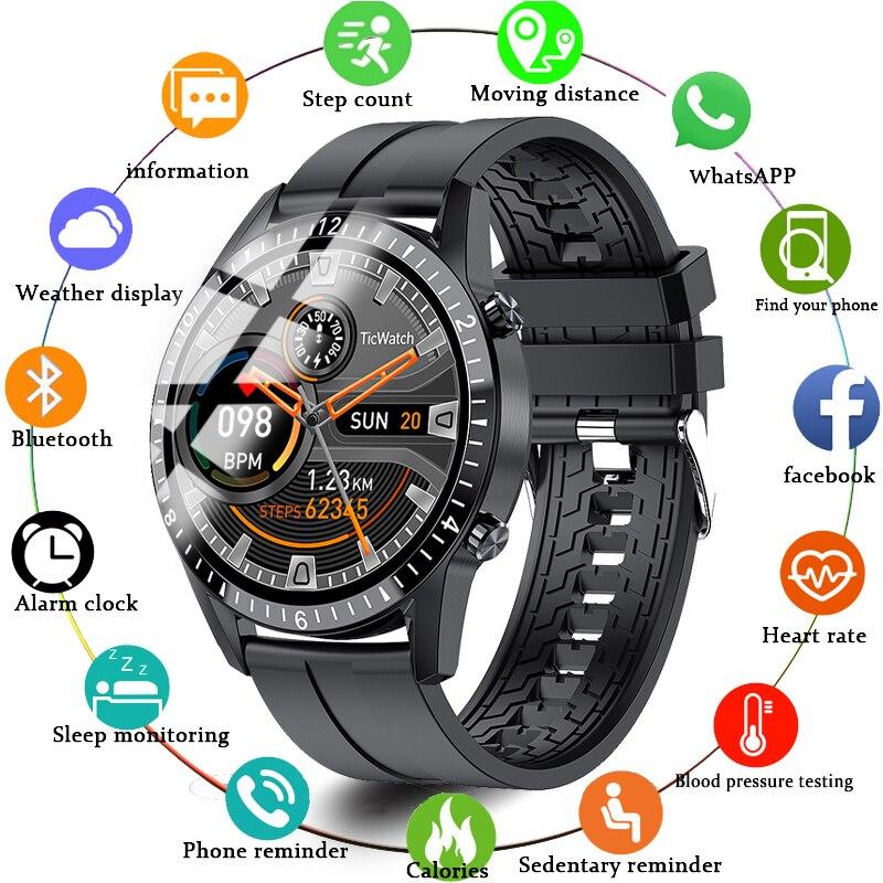 ساعة ذكية تعمل باللمس كامل شاشة مستديرة بلوتوث الموسيقى عداد الخطى الساعات الرياضية تعقب الرجال دعوة تذكير SmartWatch يدعم الهاتف