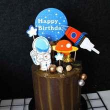 Paire dastronautes créatives   Garniture de gâteau dunivers, fusée dastronautes créative avec cure-dents pour décoration de fête danniversaire cadeaux de Dessert
