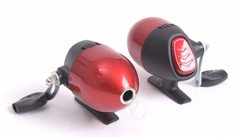 Carrete giratorio de tiro en línea interior rueda de pescado giro rojo arco fundido ballesta carrete de fundición construido en cerca