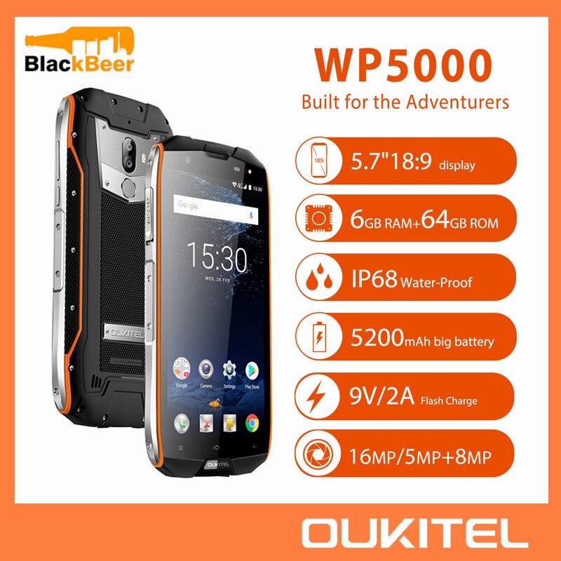 OUKITEL WP5000 5,7 pulgadas Smartphone IP68 impermeable Android 7,1 teléfono móvil Helio P25 Octa Core 6GB 64GB ROM 5200mAh teléfono móvil