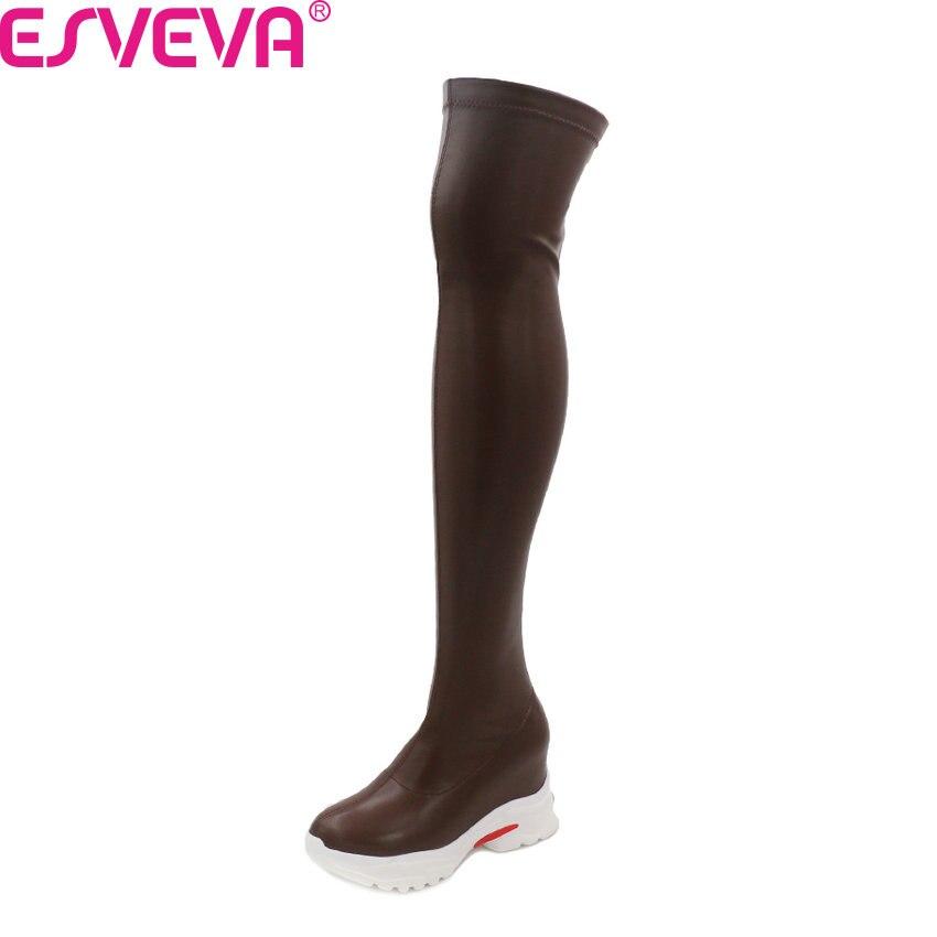 ESVEVA 2021 فوق الركبة النساء الأحذية أسافين بولي Leather جلد الخريف الشتاء النساء الأحذية منصة جولة تو أحذية طويلة حجم كبير 35-43