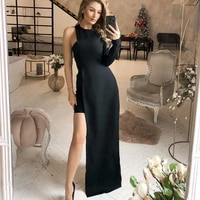luoyiyang o neck one shoulder long sleeve casual solid color dress womens fashion elegant party dresses for women clothing