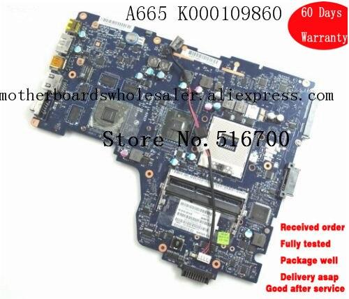 Placa mae para toshiba a665 a660 k000109860 notebook mainboard sockel 989 nwqaa LA-6062P