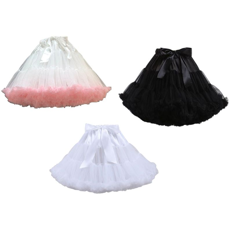 Women Lolita Cosplay Petticoat A-Line Puffy Tutu Skirt Layered Tulle Ballet Dance Pettiskirts Big Bowknot Underskirt