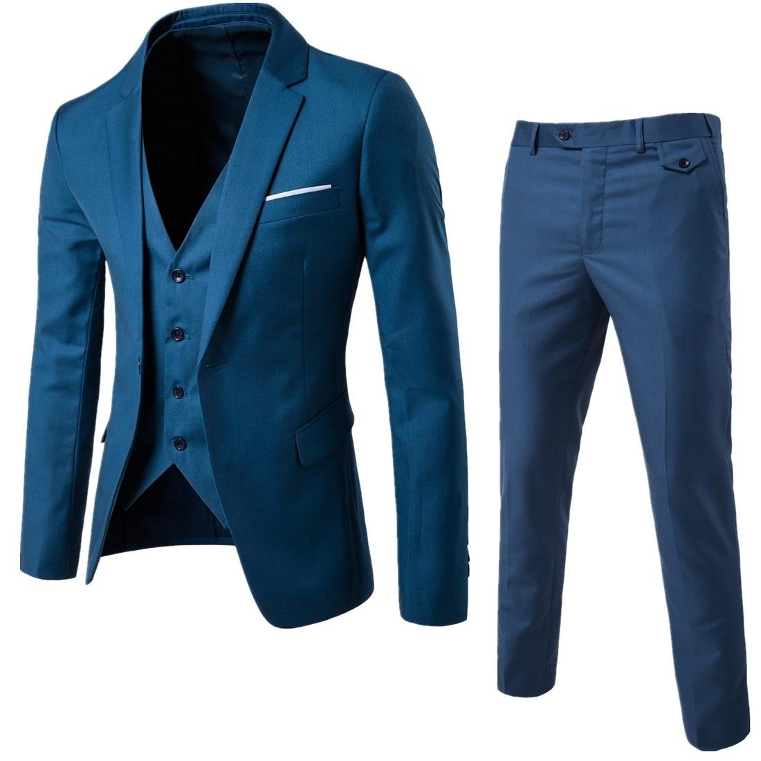 (Блейзер + жилет + брюки) Мужской Блейзер Элитный бренд официальное свадебное платье для жениха костюмы мужские однотонные деловые костюмы