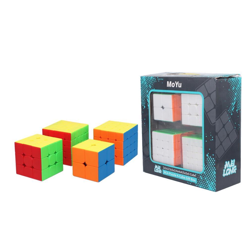 MoYu Meilong 4 en 1 caja de regalo de 2x2x2 3x3x3 4x4x4x3 4x4 5x5x5x5 cubo mágico Moyu WCA rompecabezas 4-caja de cubos para regalar 3x3 velocidad juego de cubo cubo mágico MoYu 3x3x3 puzzle magic cube game cube gear