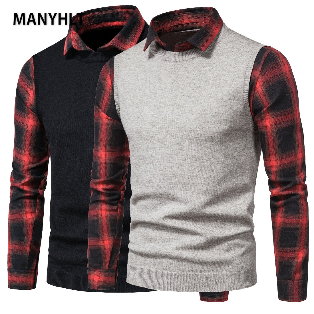 Мужской свитер, мужские пуловеры, сезон осень-зима, британская рубашка с воротником, повседневные шерстяные свитера, мужские имитация двух ...
