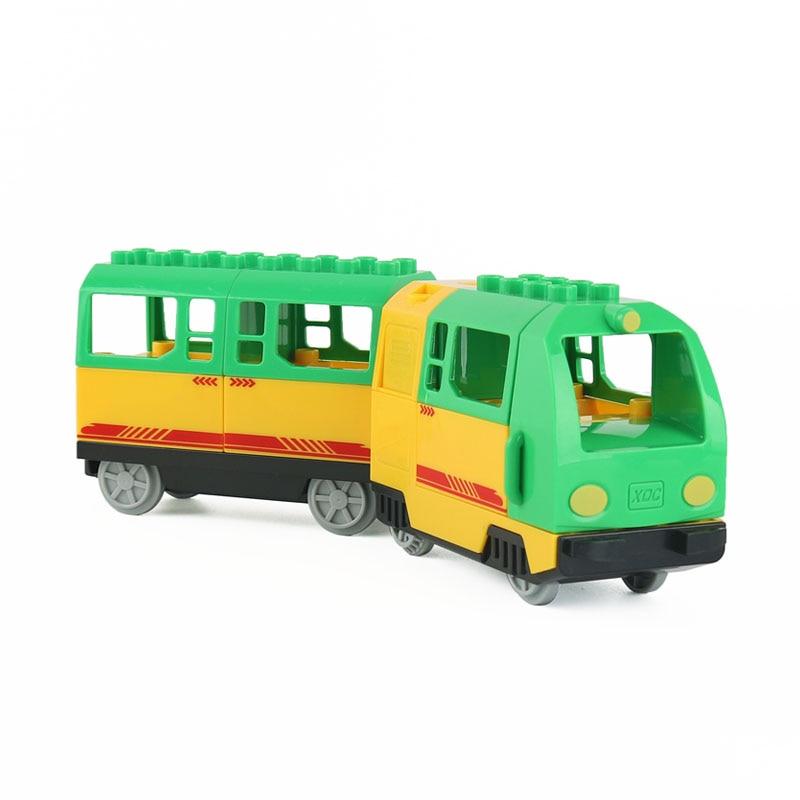 Duże cząstki klocki elektryczne lokomotywa pociąg przedział akcesoria kompatybilne z Duploed zabawki dla dzieci prezent