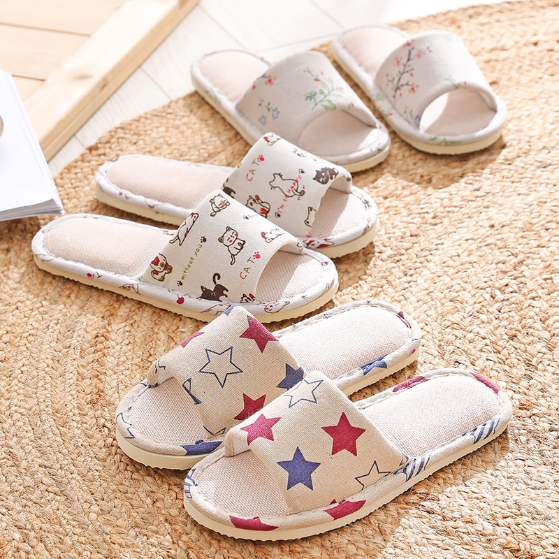 Cartoon Printed Home Slippers Loafer Hotel Slippers Indoor Lovers Shoes Unisex Open Toe Slippers Summer Sandals Linen Slippers