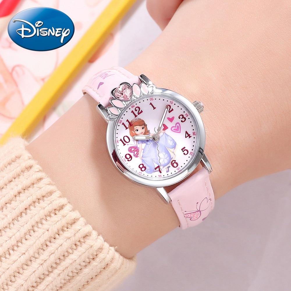 Disney Princess Series Pretty Sofia Girls PU Band Waterproof Fashion Casual Quartz Watch Lovely Child Beautiful Clock Gift Pink