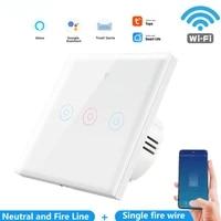 Tuya     interrupteur tactile Wifi intelligent  1 2 3 boutons  commande vocale  pour maison connectee  compatible avec Alexa et Google Assistant