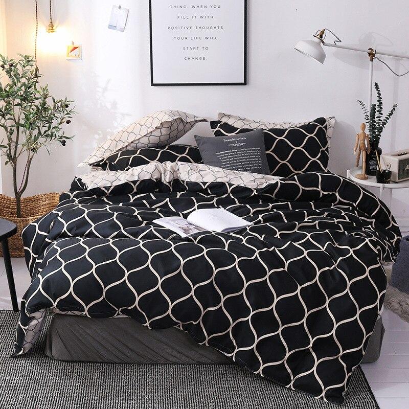 Lanke Plaid patrón de cama, Reino Unido-Juego de cama doble tamaño Queen, 200*200 tamaño 3 uds, ropa de cama de algodón