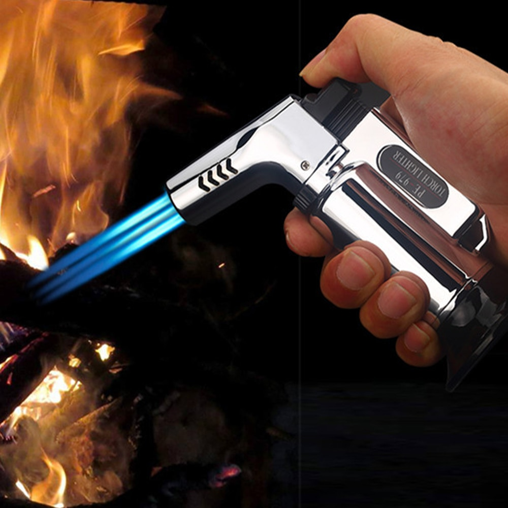 Three-Nozzle Windproof Butane Lighter Blue Flame Turbine Outdoor Barbecue Kitchen Cigarette Lighter Cigar Accessories Gadget enlarge