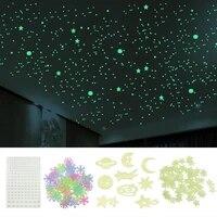 Etoiles et points 3D stockage denergie Fluorescent lueur dans la nuit lumineux sur les autocollants muraux pour chambre denfants  sticker de salon  decoration de maison