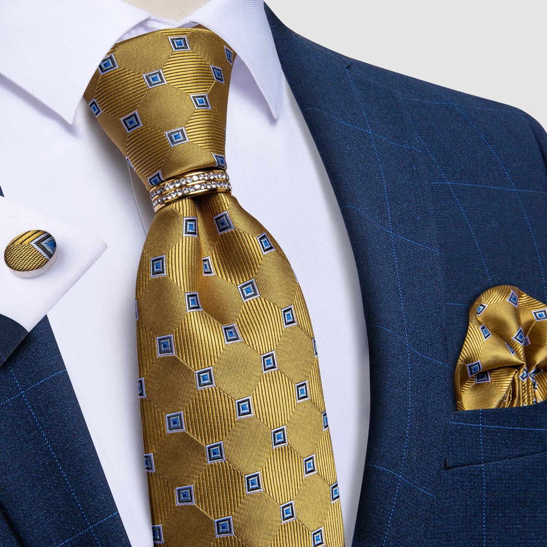 Мужские галстуки в синюю точку, золотые клетчатые галстуки для мужчин, роскошные галстуки-кольца, деловые формальные свадебные галстуки, ка...