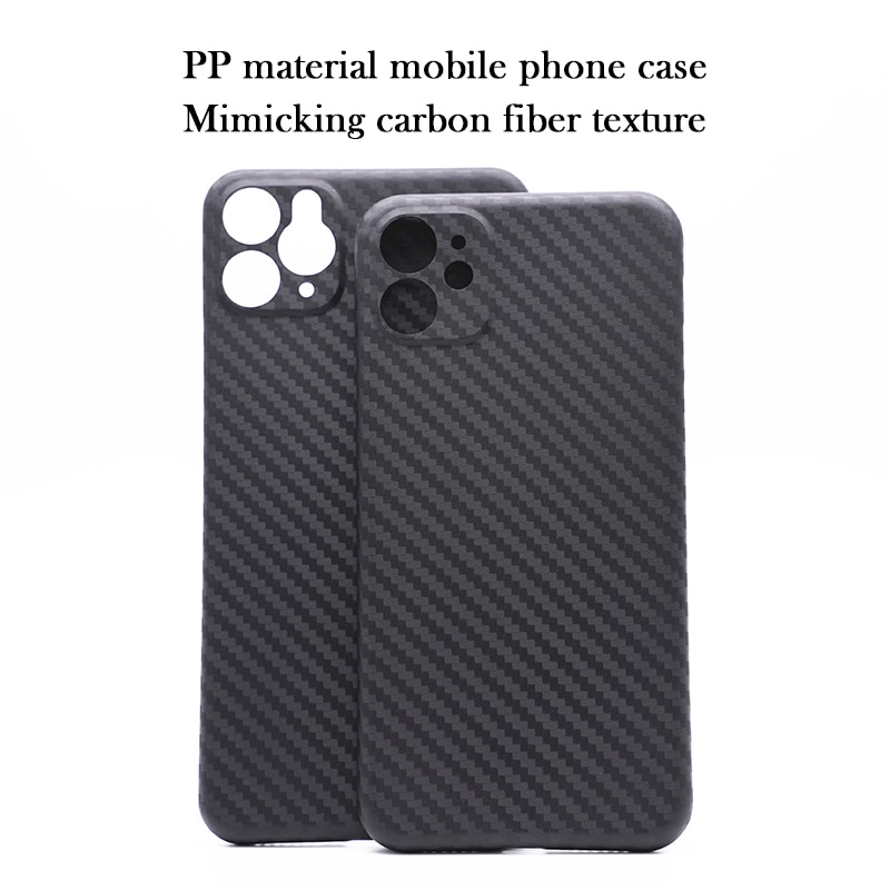 Funda de teléfono móvil de material PP para iPhone11 Pro max all-inclusive X XS Max XR protección de lente de textura de fibra de carbono