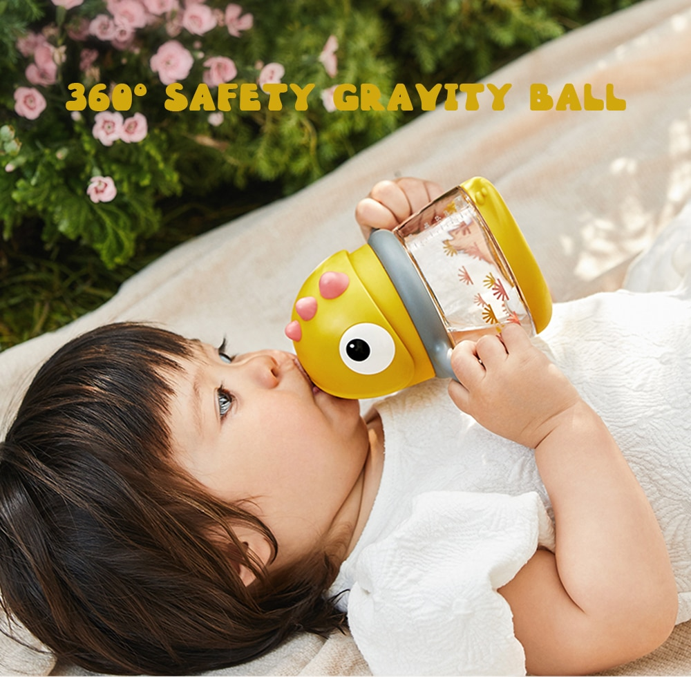Kids Training Sippy/Duckbill Cup Gravity Ball Outdoor Portable Baby Leakproof Dinosaur Handle/Sling Water Bottles