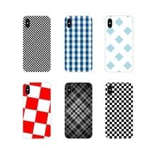 Black white checkered stripe Soft Transparent Shell Cover For Huawei Y5 Y6 Y7 Y9 Prime Pro GR3 GR5 2017 2018 2019 Y3II Y5II Y6II