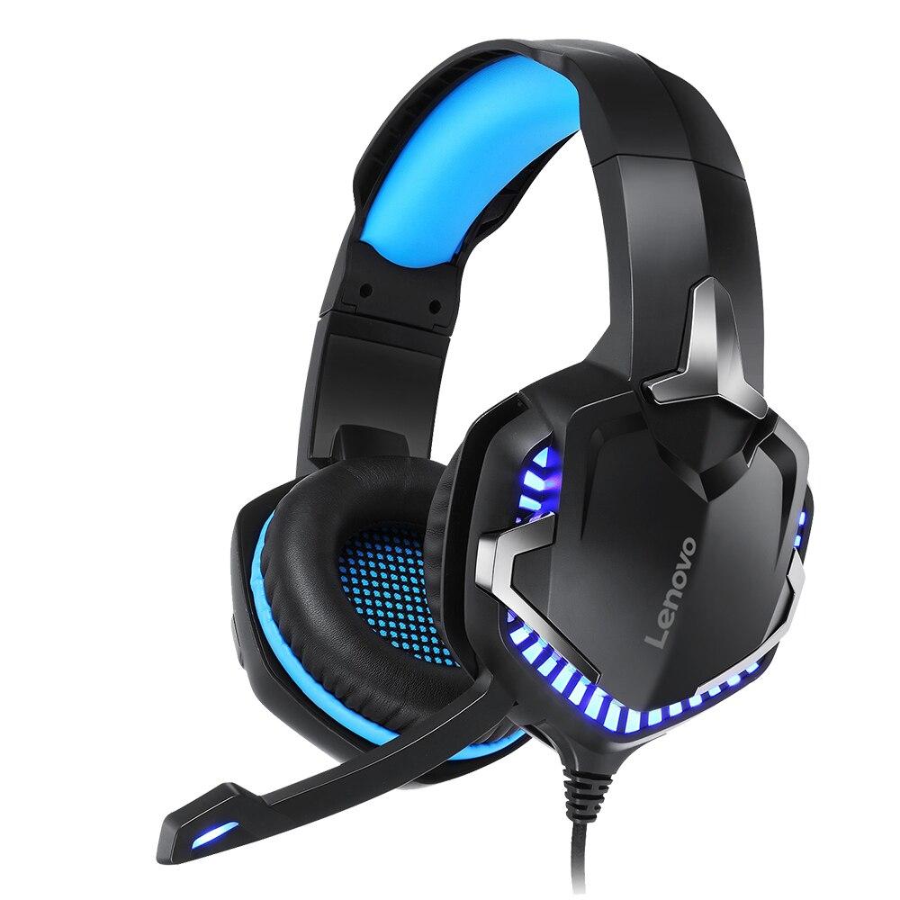 Cabeça-montado com Som Microfone de Redução de Ruído de Alta Lenovo Wired Gaming Headset Surround Sensibilidade Led Efeito Hs15