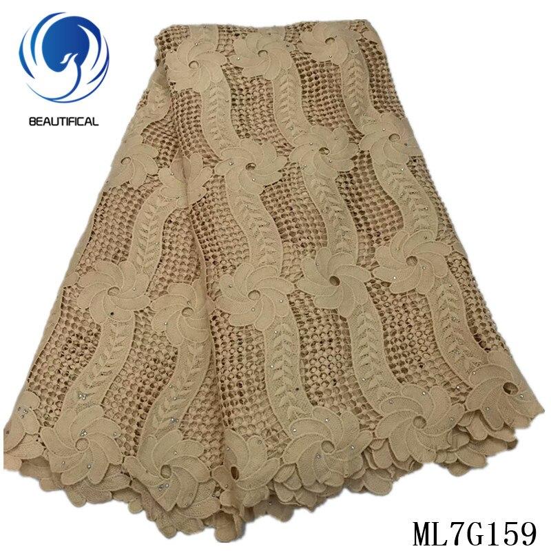 Hermoso bordado de encaje guipur africano, pañuelo de tela, vestido de encaje africano, Material de encaje guipur 5 yardas/lote ML7G159