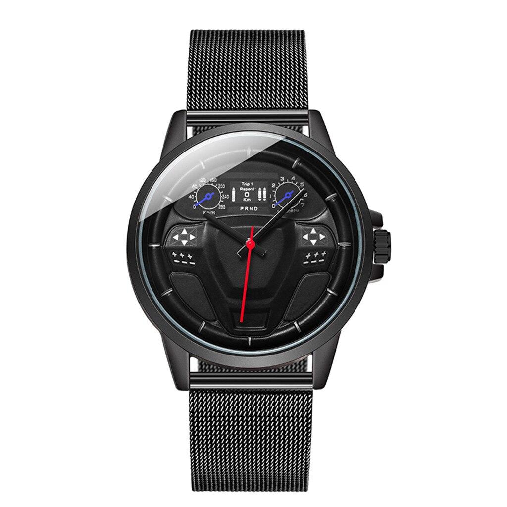 Reloj de pulsera de acero para hombre con diseño de disco y Esfera Grande de Cab