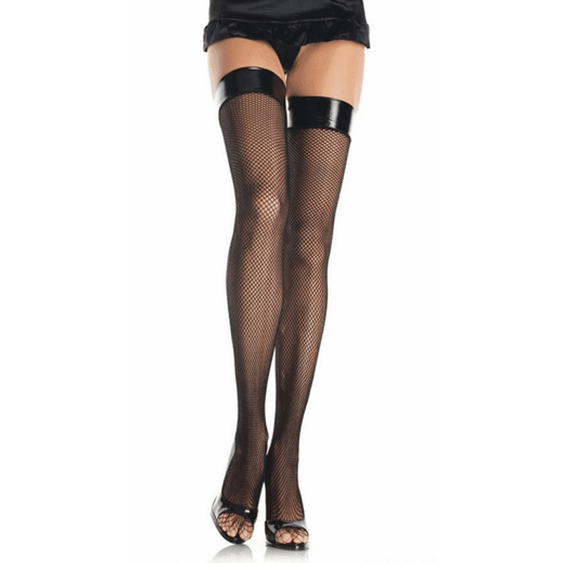 Women Sheer Sexy Stockings Faux Leather Top Thigh High Stockings Over The Knee Socks Nightclubs Pantyhose Party Hosiery