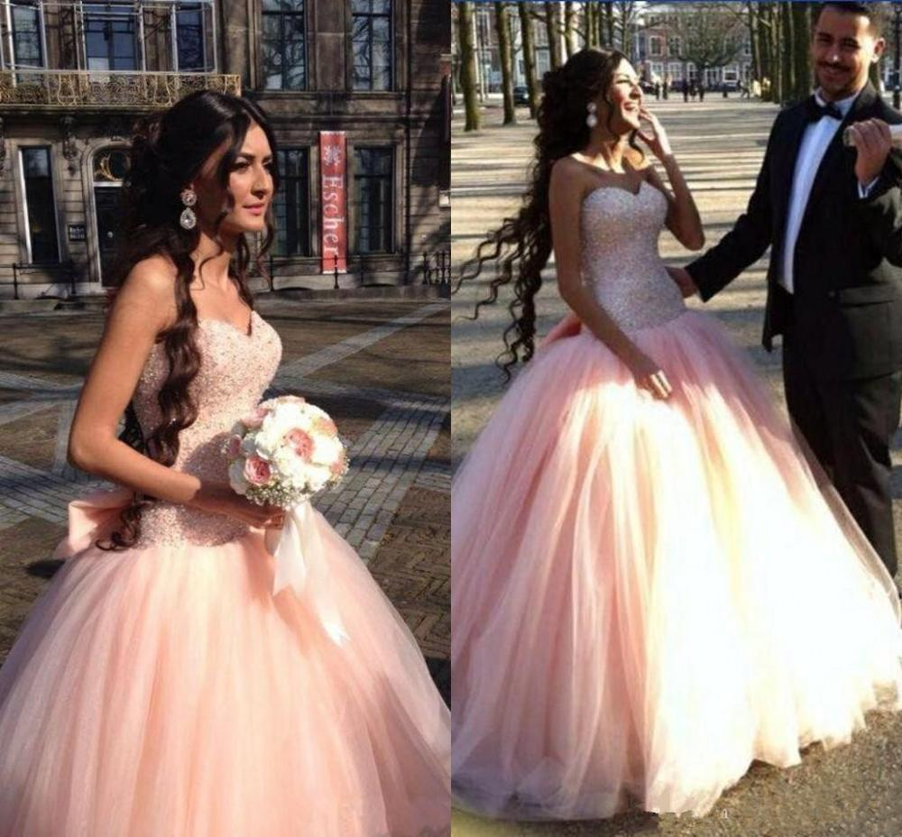 Árabe 2021 quinceanera vestido de baile vestidos querida rosa sem mangas tule frisado arco doce 16 festa baile noite vestidos