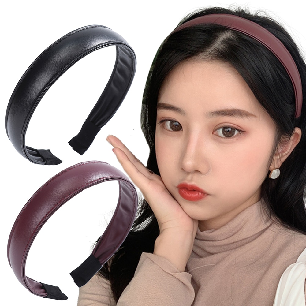 Simples cor sólida couro hairband bezel sutura bandana selvagem acessórios de cabelo para as mulheres boa textura para presentes meninas cabelo hoop