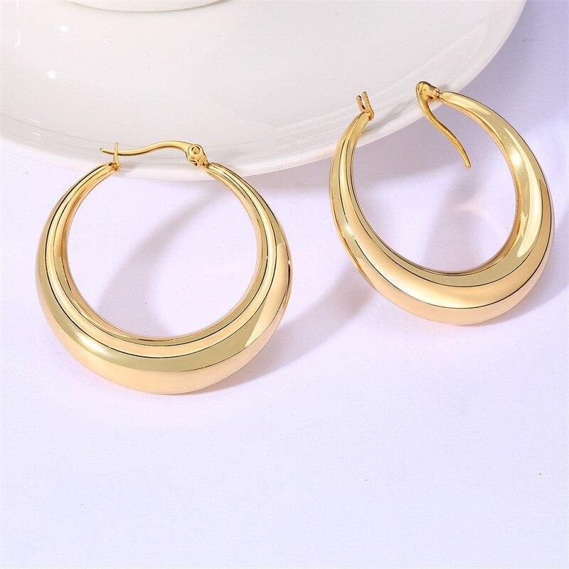 Pendientes gruesos de aro de oro grueso para mujer, pendientes de Tubo vacío ligeros de acero inoxidable médico