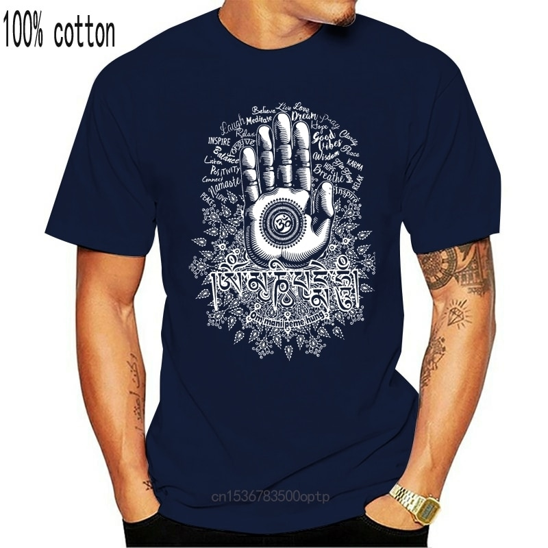 Черная хлопковая Футболка короткий рукав Летняя футболка с круглым вырезом мужские ХАМАС ручной Намасте медитации Ом Мани Peme повесить футболка|Футболки| | АлиЭкспресс