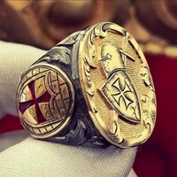 vintage samurai shield cross pattern ring mens ring new fashion metal gold plated ring accessories party jewelry size 7 13