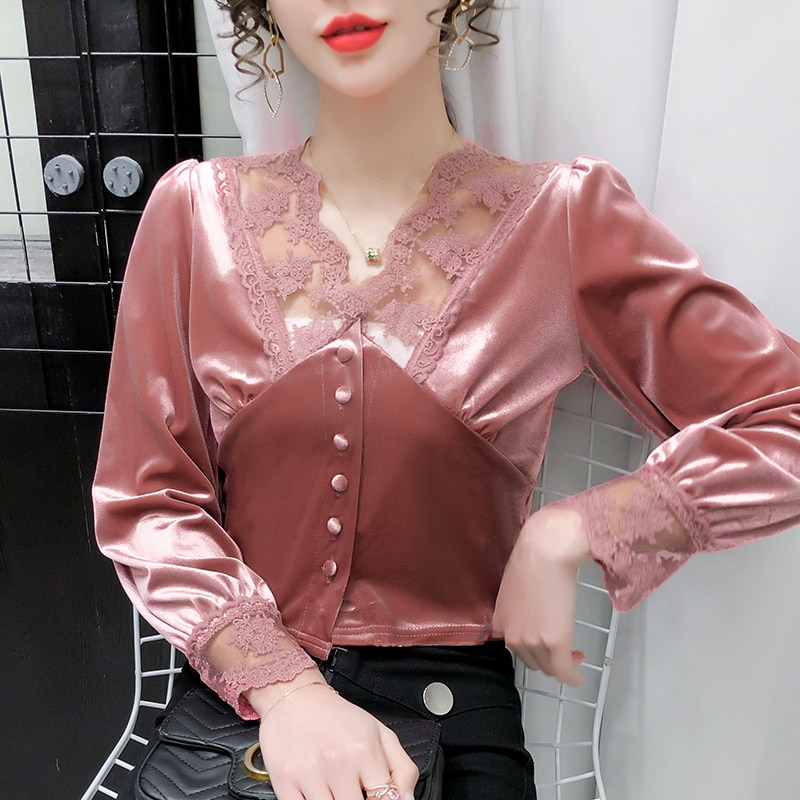 Retro 2021 Spring Women Blouses Lace Patchwork Ins New Fashion Female French Stitching Velvet Blusas Mujer Fall Sexy Shirts Tops