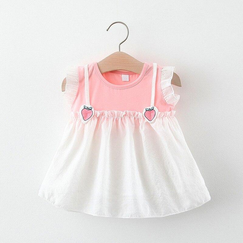 Vestidos para bebés recién nacidos, ropa de verano para bebés, Ropa para Niñas con frutas lindas, Princesa, sin mangas, vestido con fresas florales, ropa para bebés