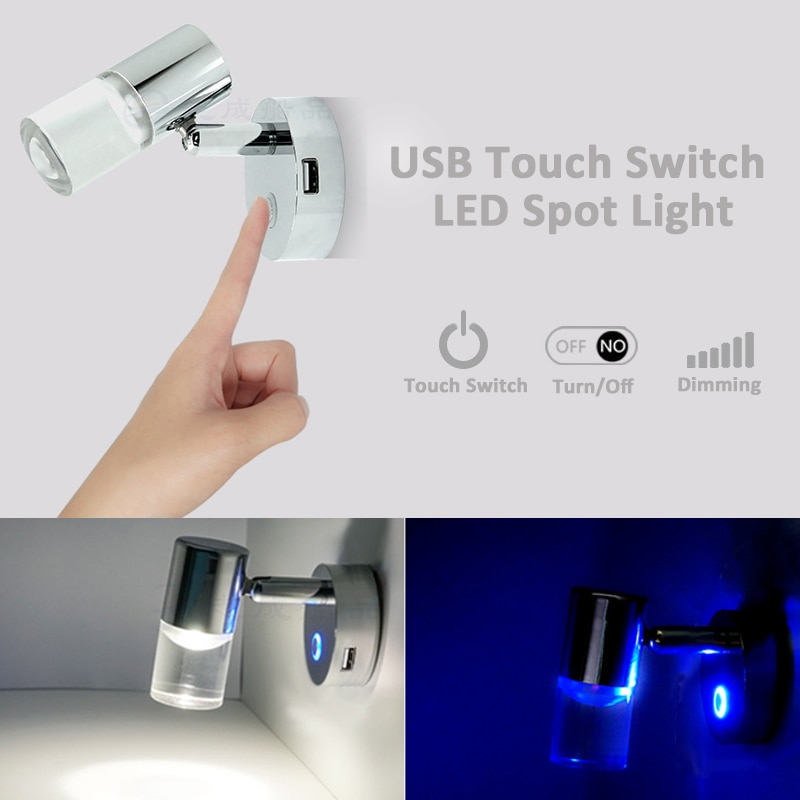 Ajustable 12/24V LED caravana punto lectura Interruptor táctil para luz RV Camper luz Interior lámpara de coche