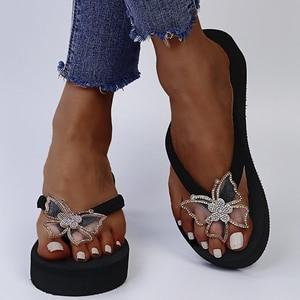 Summer Fashion Trend Women Slippers Thick Platform Wedges Heel Butterfly Rhinestone Flip Flops Retro Casual Shoes Ladies Female