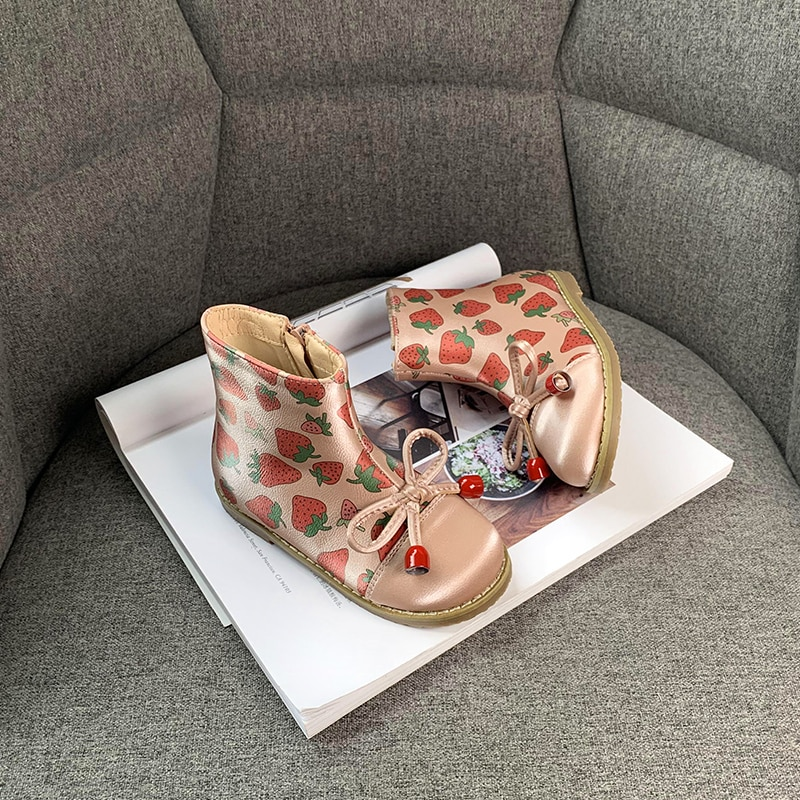 Kids Boots Princess Short Boots Martin Boots Spring and Winter 2020 New Single Boots 2-4-year-old Children's Plush Leather Boots